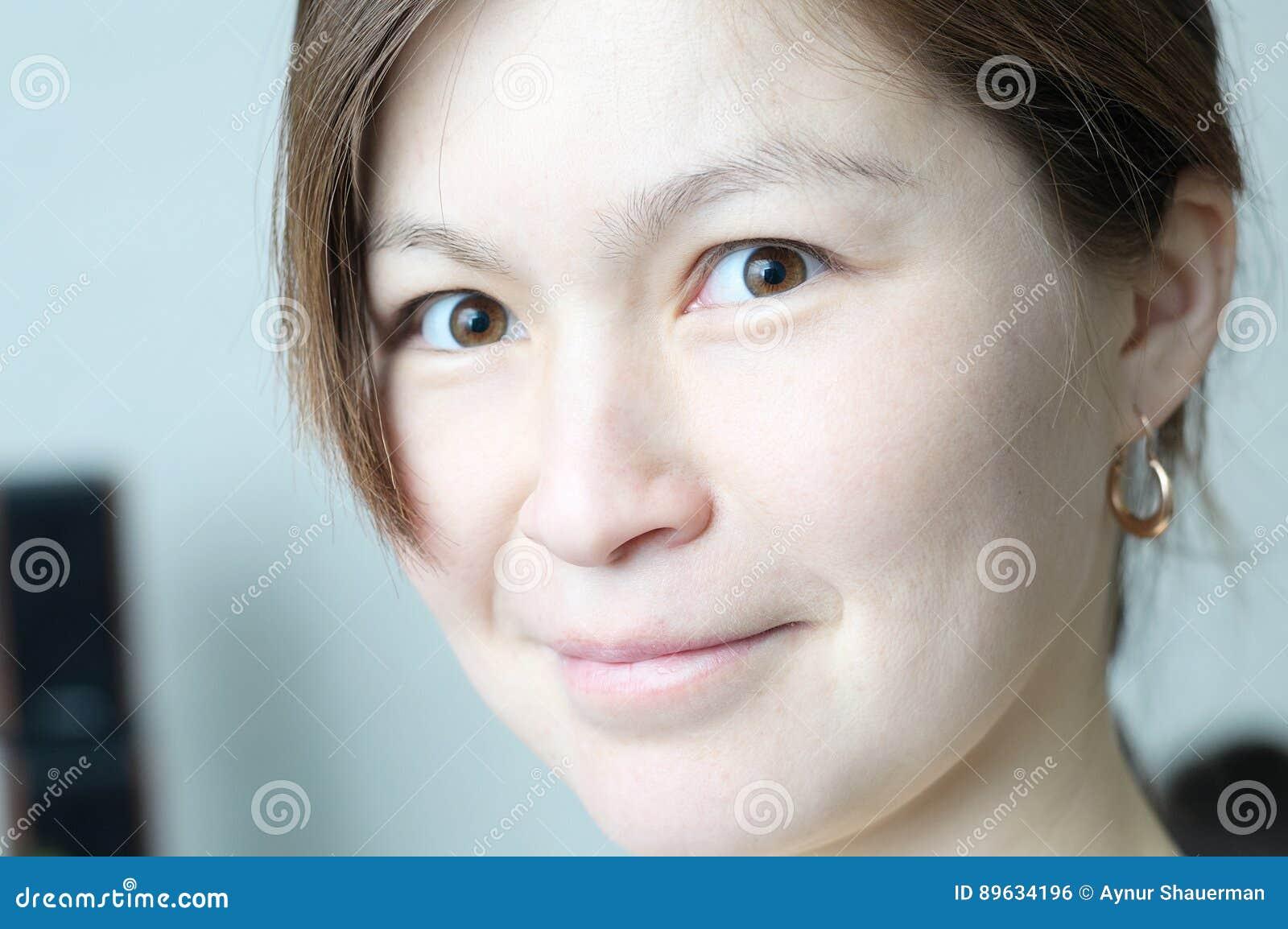 Beautiful Smiling Asian Girl Face Portrait Elegant And