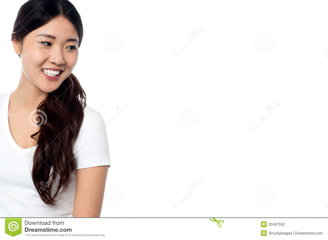 beautiful smiling asian model looking away stock photo - image of