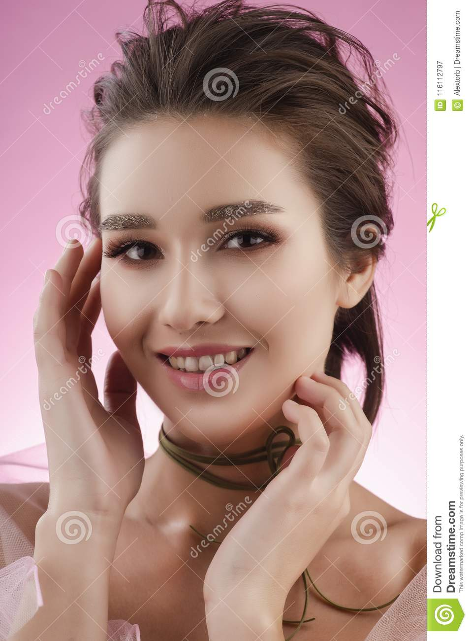 Beautiful Smiling Big Breast Asian Girl Wearing A Pink Veil On H Stock Image - Image -6526