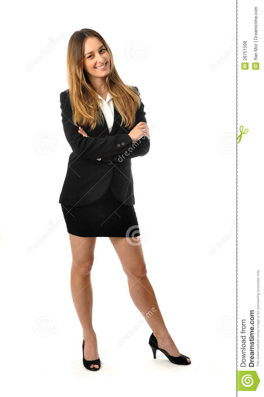 beautiful smiling business woman full body stock photo