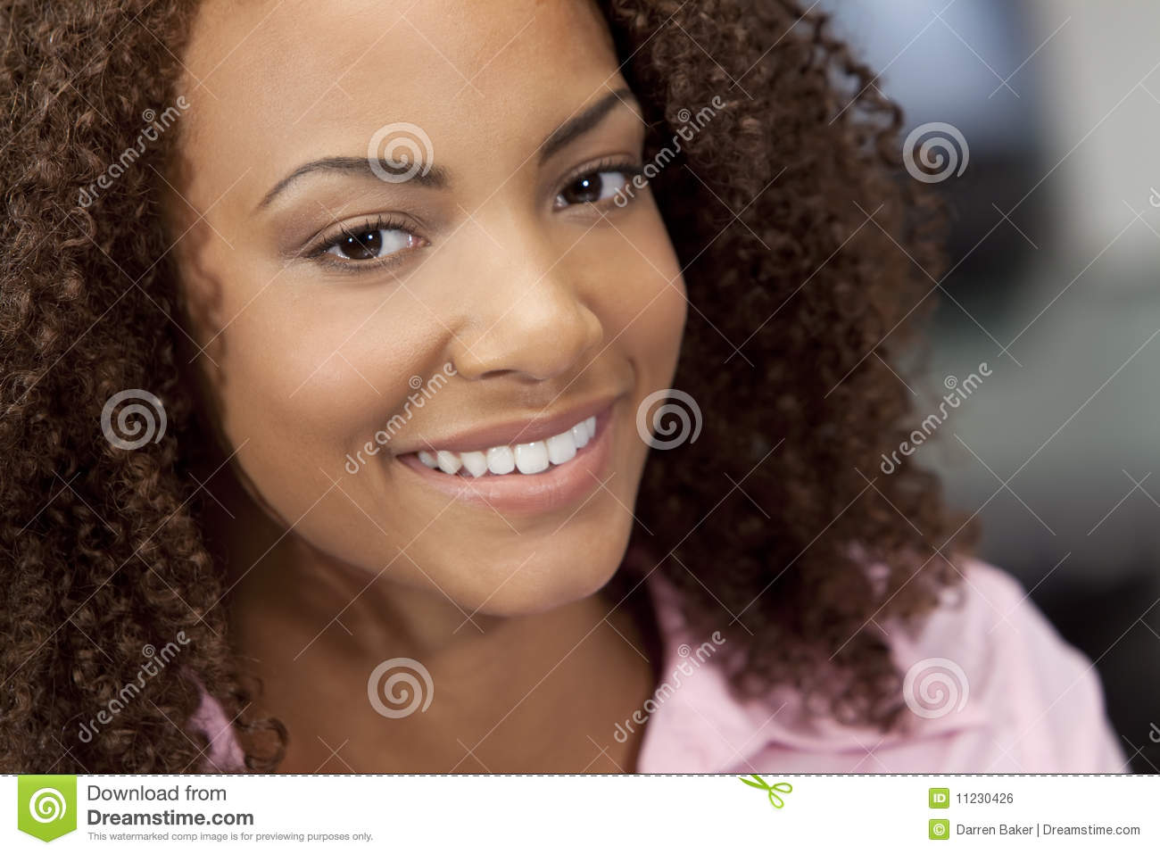 Beautiful Smiling Mixed Race African American Girl
