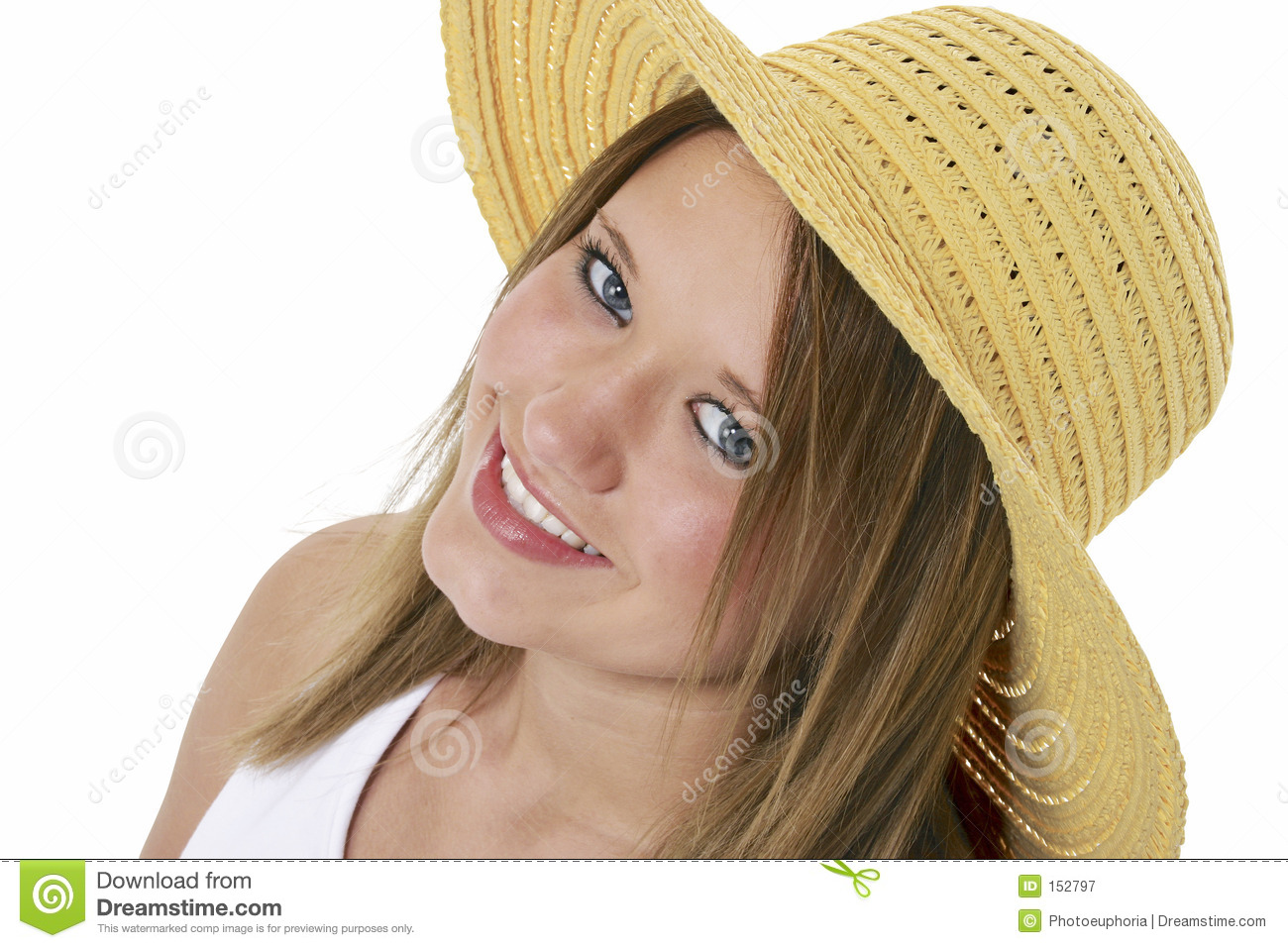 Beautiful Smiling Teen In Yellow Hat Over White
