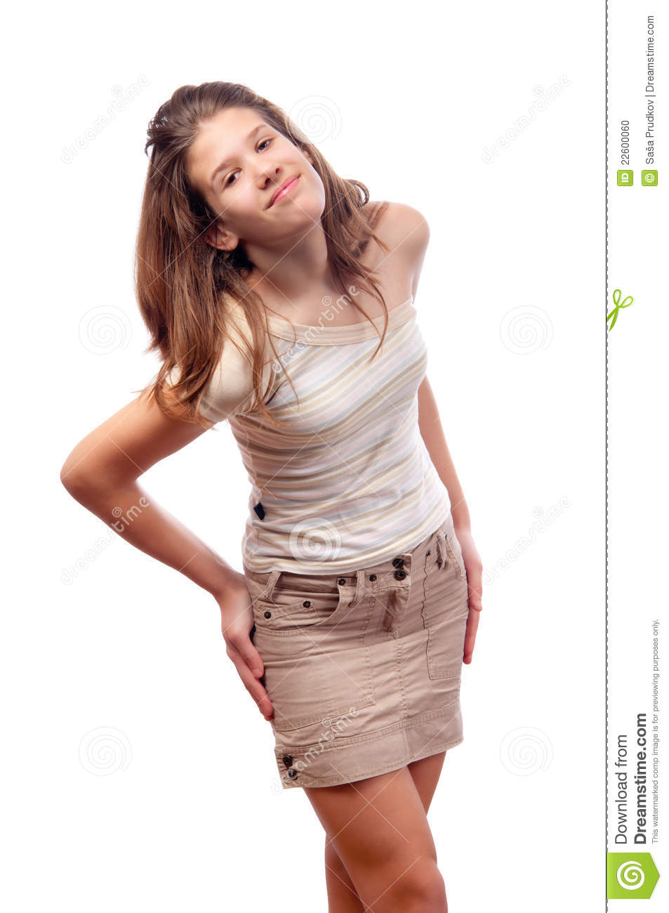 ... in short brown skirt and striped blouse isolated on white background