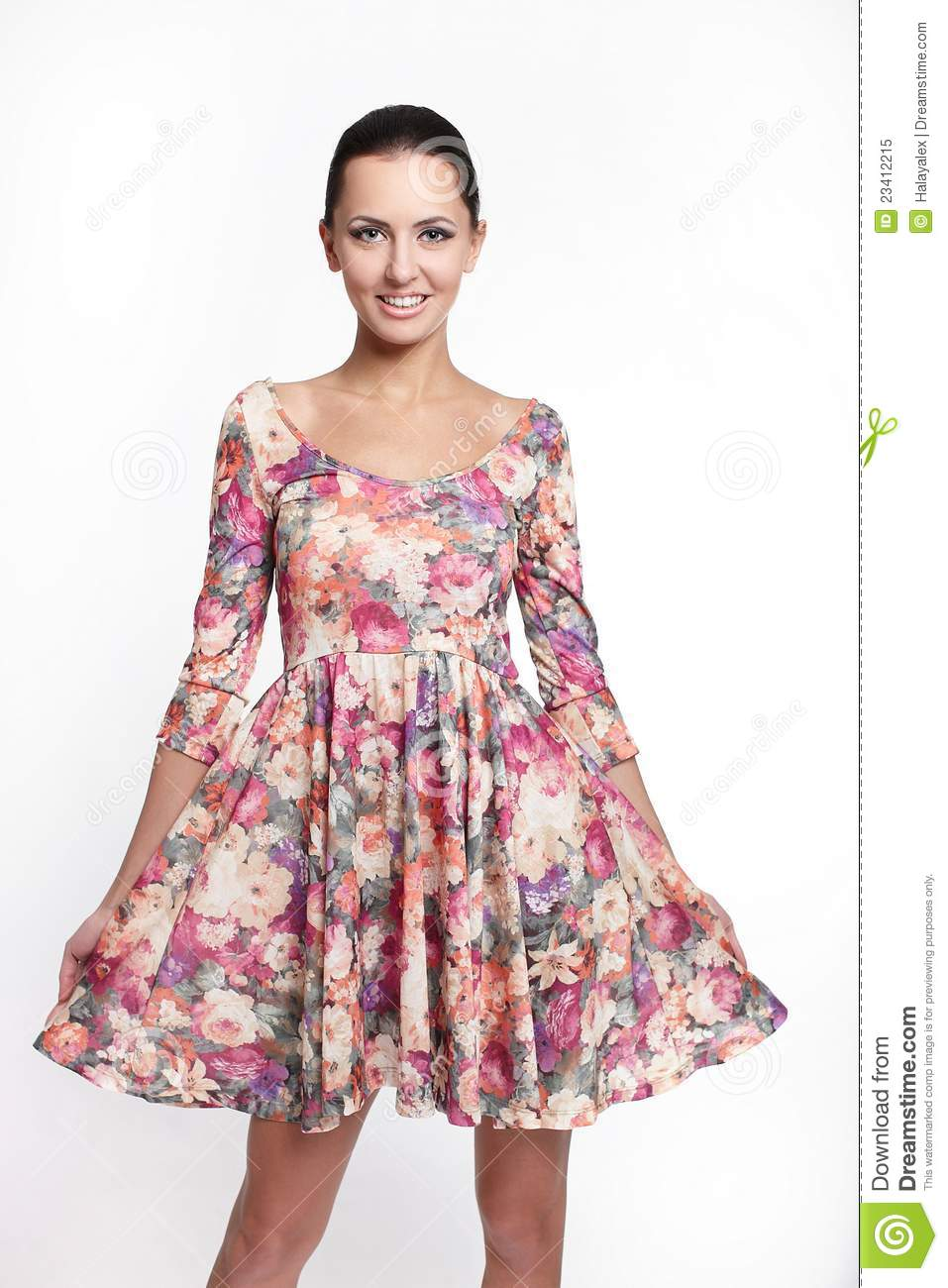 Beautiful Smiling Woman In Colorful Summer Dress Stock ...