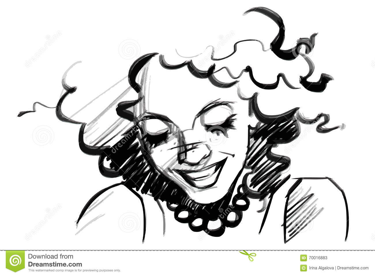 Beautiful Smiling Woman Face With Curly Hair Isolated