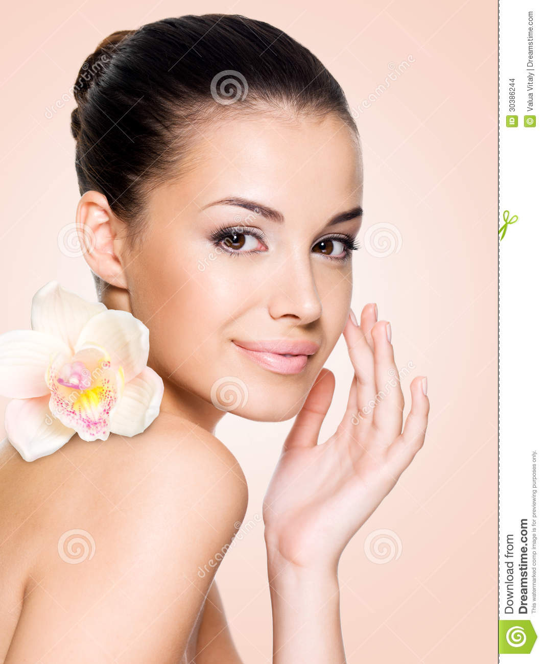 Healthy Skin Care: Beautiful Smiling Woman With Healthy Skin Stock Photo
