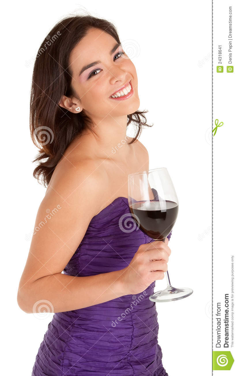 Beautiful Smiling Woman Holding A Glass Of Wine Stock ...