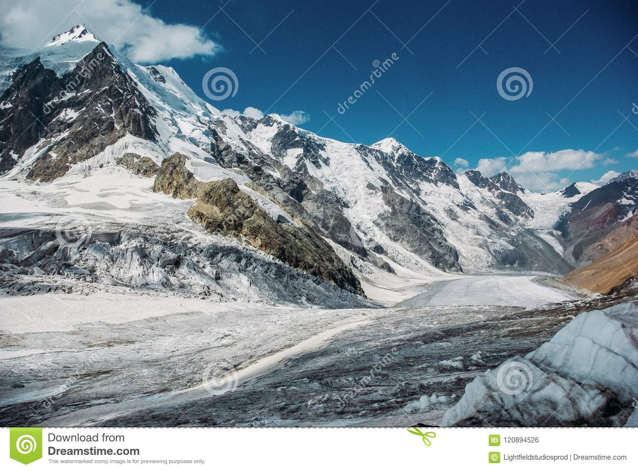 beautiful snowy mountains, Russian Federation, Caucasus,