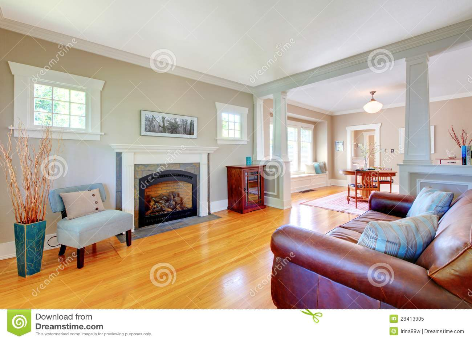 Beautiful Soft Natural Living Room Interior Design. Royalty Free ...