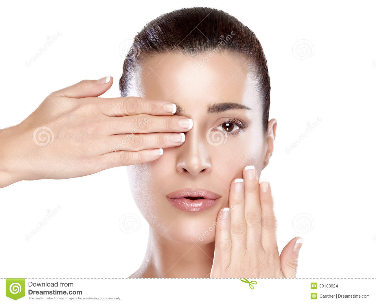 covering face with hands beautiful spa girl face skincare concept stock photo 4149
