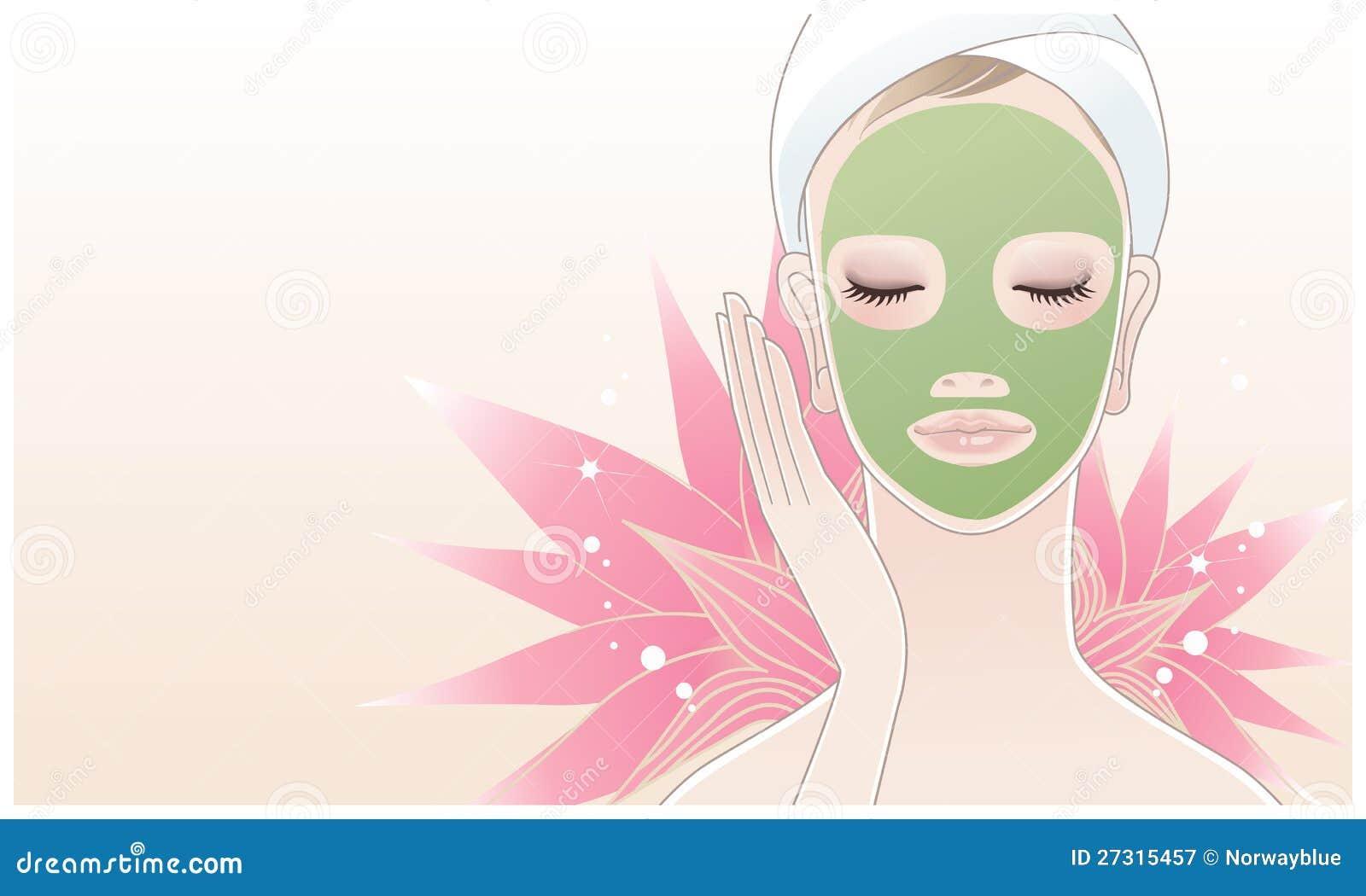 Beautiful Spa Woman Applying Facial Mask Stock Vector Illustration