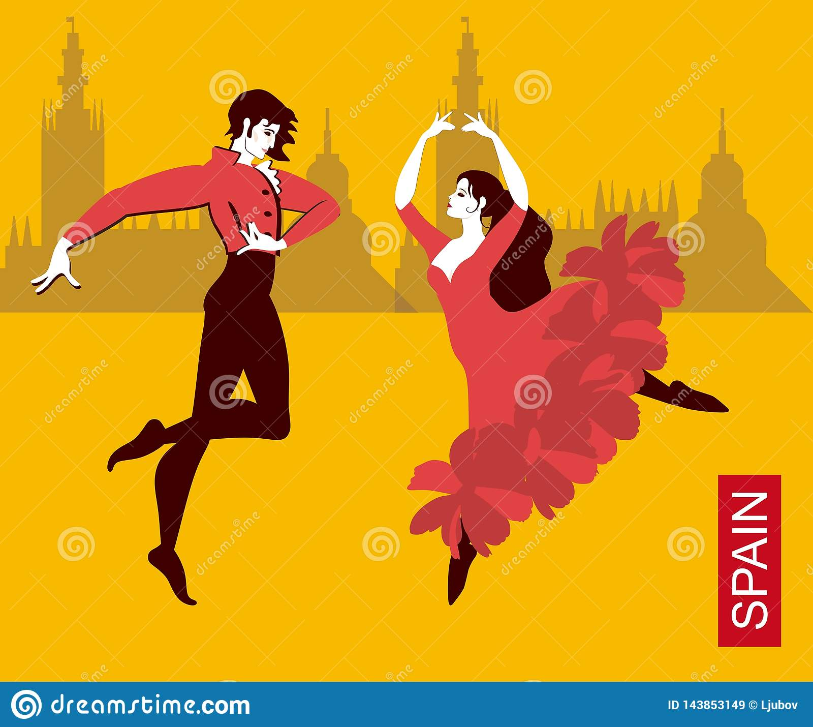 Beautiful Spanish Couple In National Costumes Dancing Flamenco In The City  Streets. Silhouettes Of Buildings
