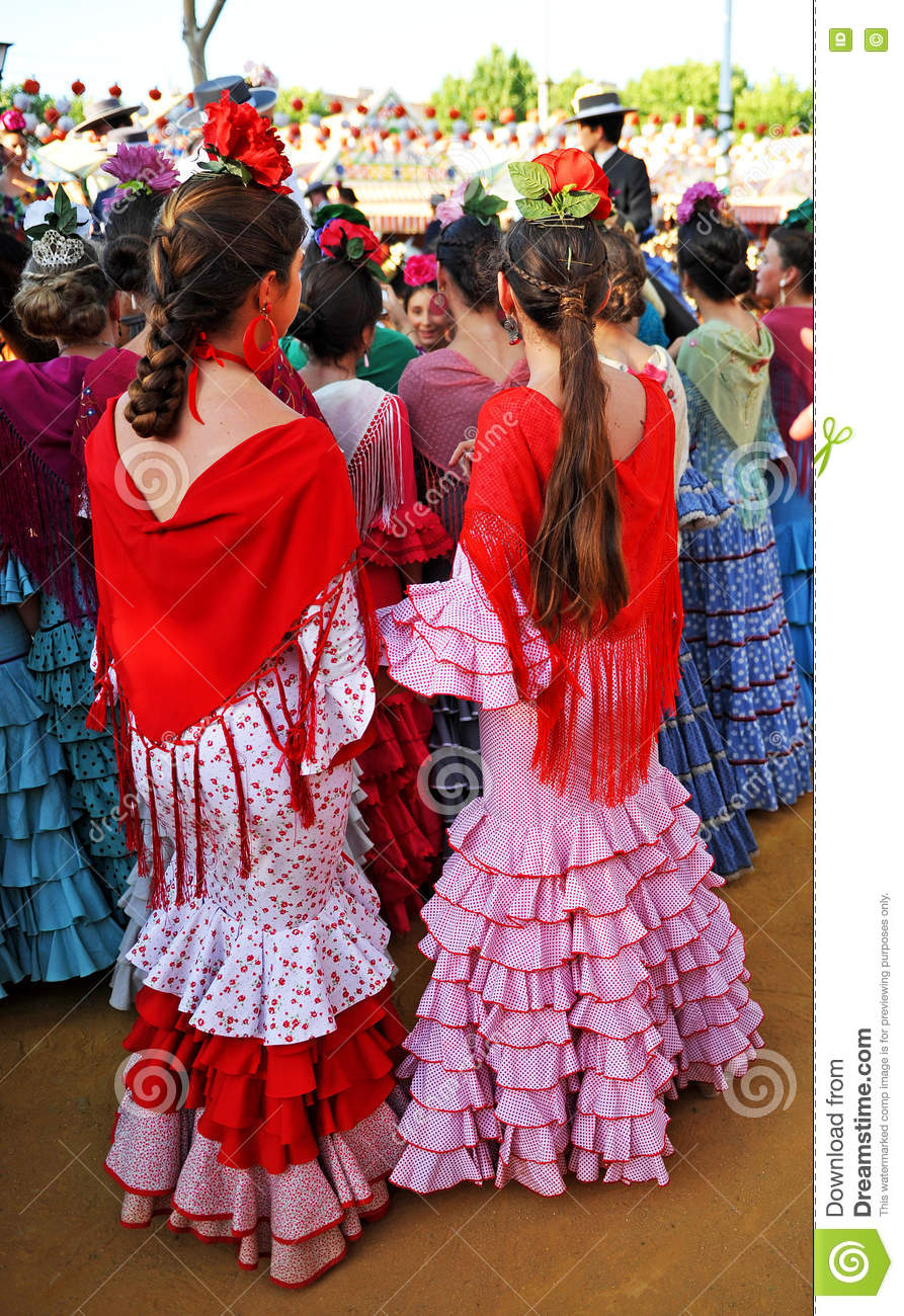 Seville Fashion: Beautiful Spanish Women In The Fair, Seville, Andalusia