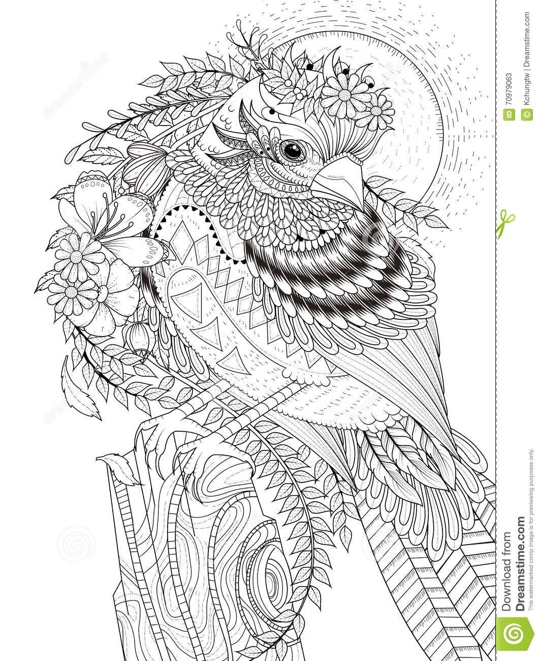 Royalty Free Illustration Download Beautiful Sparrow Adult Coloring Page
