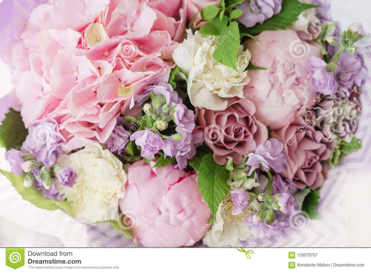 Beautiful spring bouquet flower arrangement with hydrangea and beautiful spring bouquet flower arrangement with hydrangea and peonies color lilac the concept izmirmasajfo