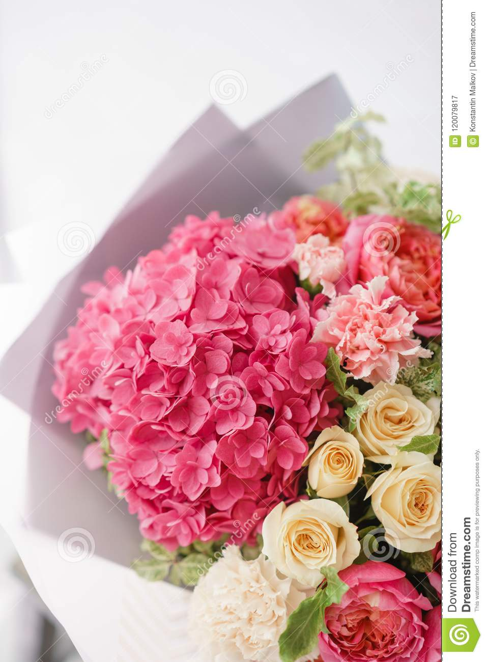 Beautiful spring bouquet flower arrangement with hydrangea and download beautiful spring bouquet flower arrangement with hydrangea and peonies roses color light pink izmirmasajfo