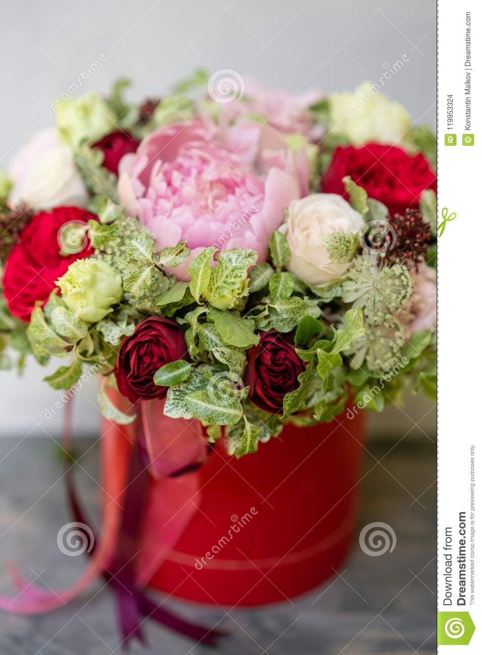 Beautiful spring bouquet in head box arrangement with mix flowers download beautiful spring bouquet in head box arrangement with mix flowers the concept of mightylinksfo