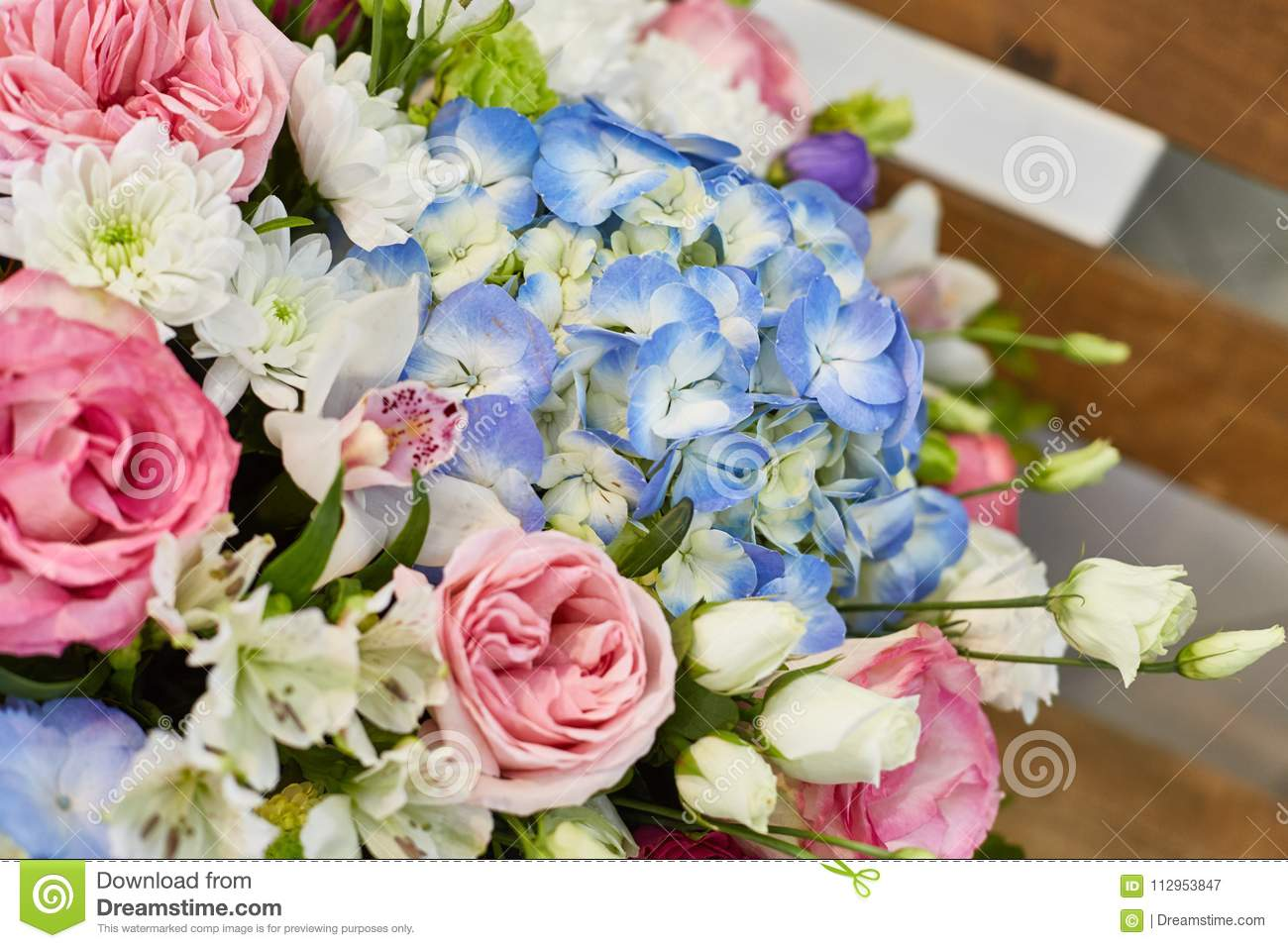 Beautiful Spring Flowers In Soft Pink And Light Blue Colours Stock