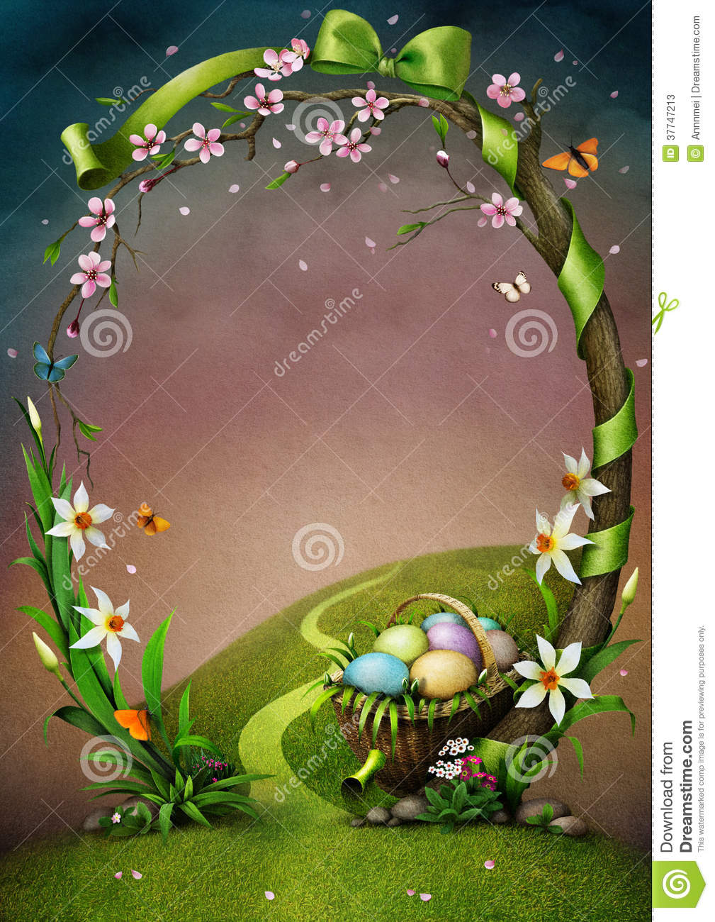 Beautiful spring frame with flowers and Easter eggs.