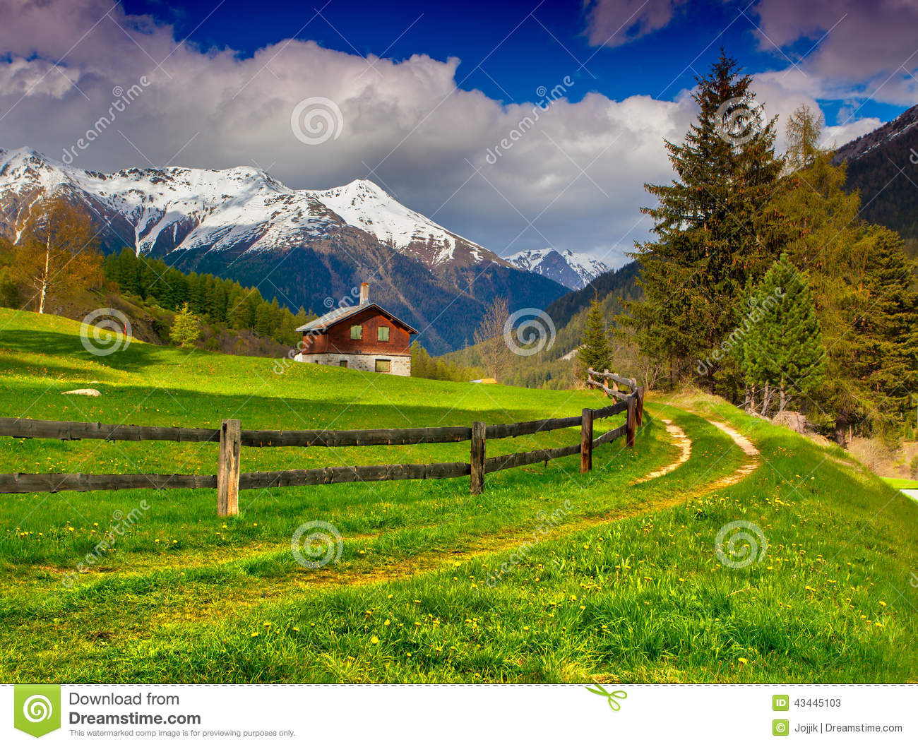 Beautiful Spring Landscape In The Swiss Alps Stock Photo