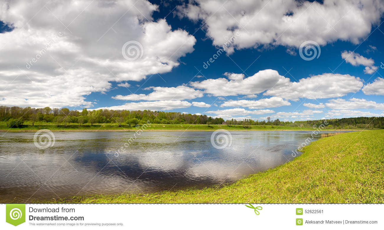 Beautiful spring landscape wallpaper with flood waters of Volga river horizontal background