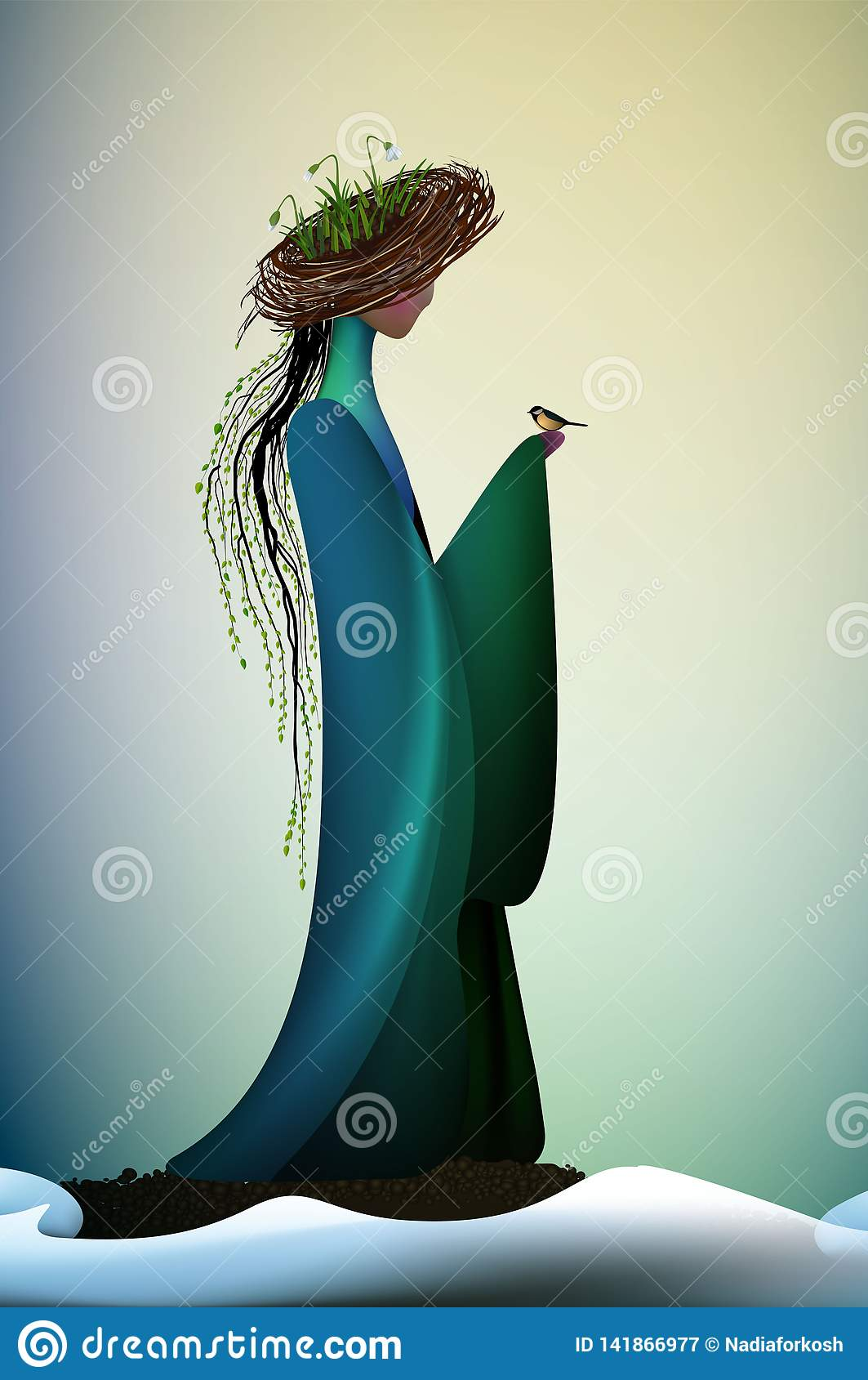 Beautiful spring new look idea, New contemporary spring, spring fantasy icon fantastic spring angel, silhouette of angel