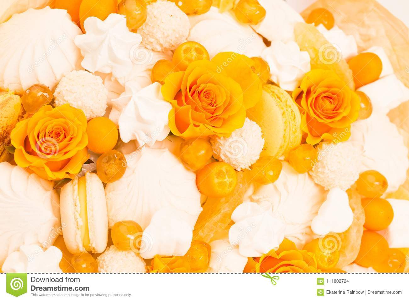 Flowers fruit bouquet white isolated yellow rose marshmallow beautiful spring sweet candies flowers bouquet yellow rose marshmallows macaroons yellow color white isolated background amazing flowers izmirmasajfo