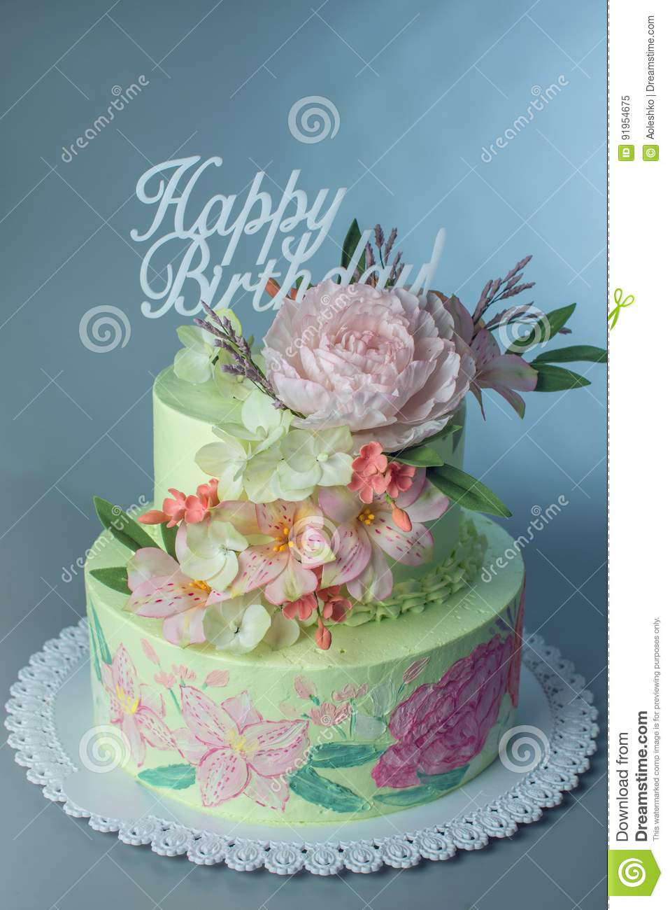 Phenomenal A Beautiful Spring Two Tiered Cake Decorated With Roses From Funny Birthday Cards Online Aeocydamsfinfo