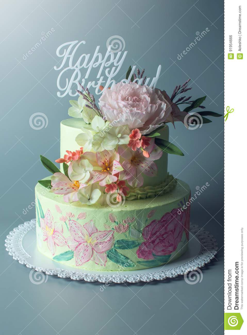 A Beautiful Spring Two Tiered Cake Decorated With Roses From Mastic Top And Texts On Top Of Happy Birthday Stock Photo Image Of Background Photography 91954666