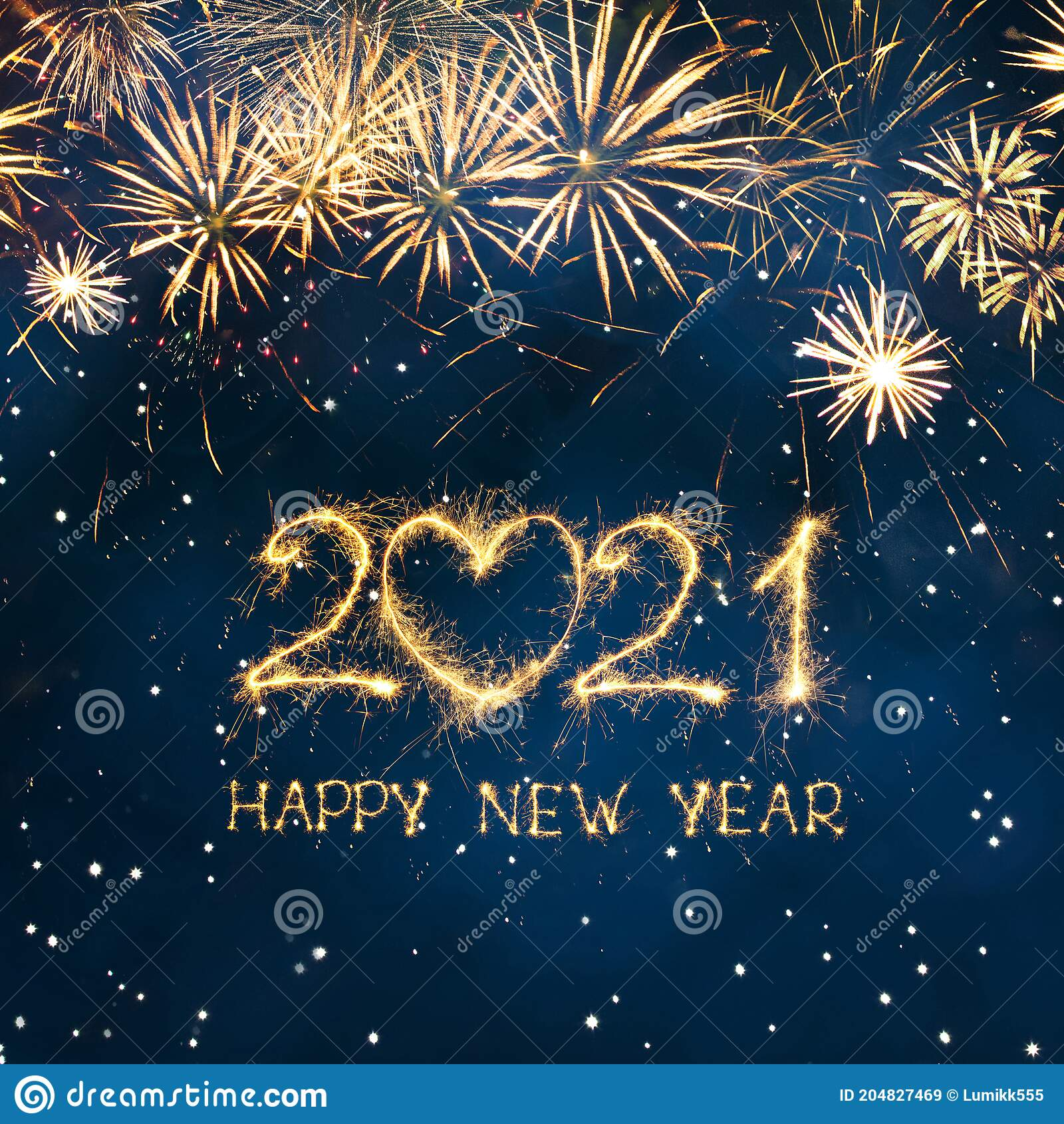 beautiful square greeting card happy new year 2021 stock