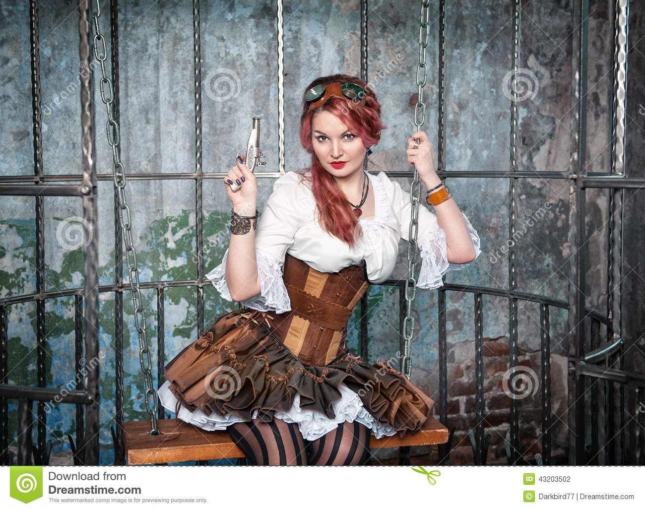 Beautiful Steampunk Woman In The Cage With Gun Stock Photo ...