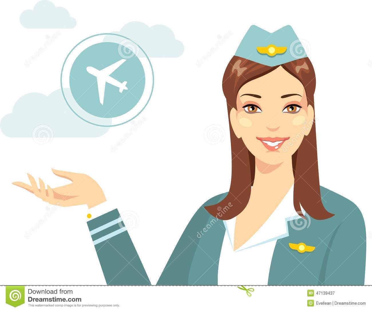 Vacation Cabin Plans Beautiful Stewardess With Airline In Flat Style Stock