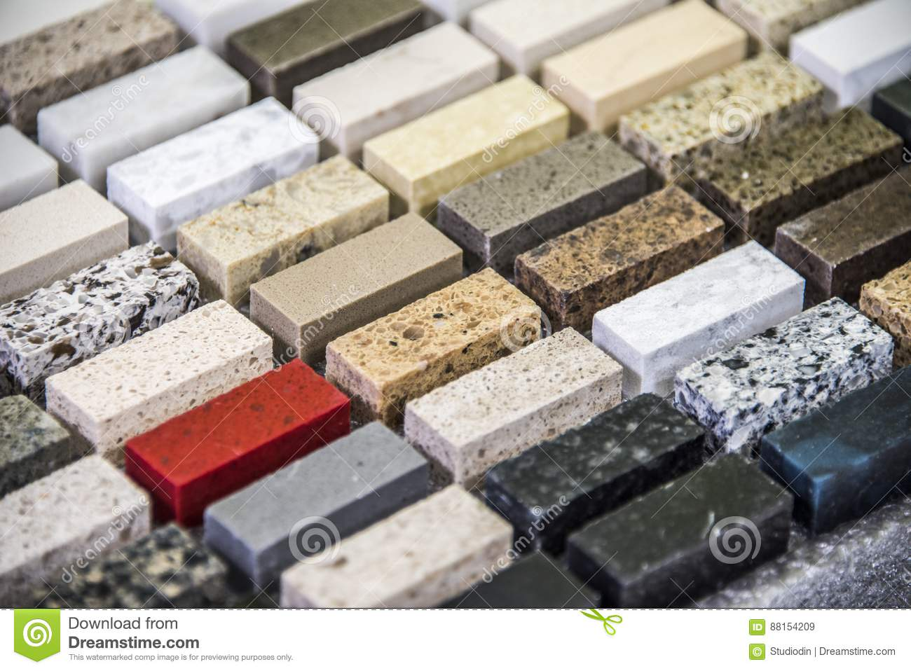 Beautiful stone color selection for kitchen counter tops. Kitchen renovation concept.