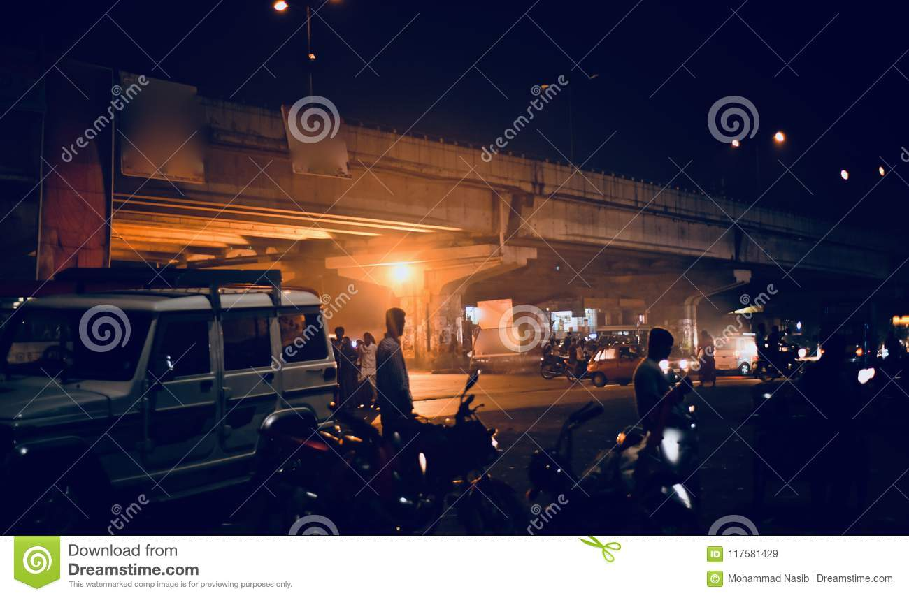 Download Night Life In The Streets Of Bangalore City Unique Photograph Editorial Stock Image - Image of life, space: 117581429