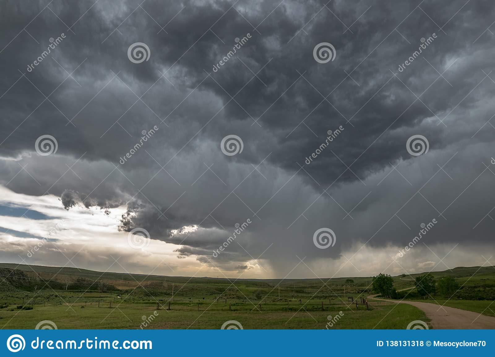 A rotating thunderstorm, also known as a supercell, over the grasslands of northeastern Wyoming