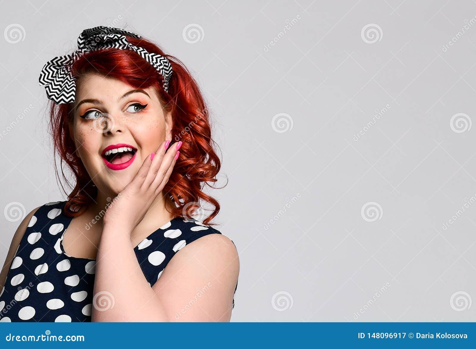 858f3434c Pin Up A Female Portrait. Beautiful Retro Fat Woman In Polka Dot ...