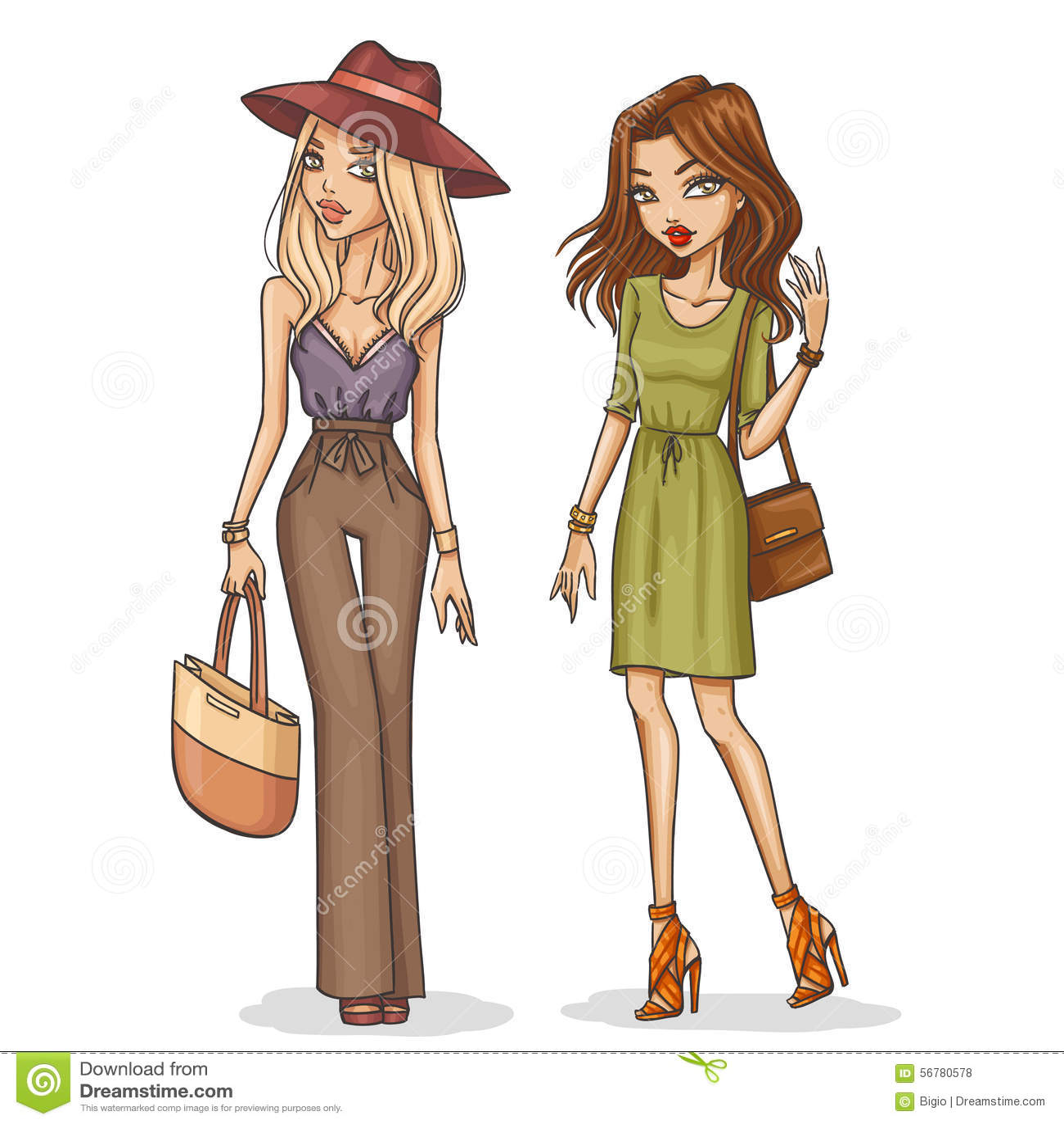 Девушки нарисованные ретро 6