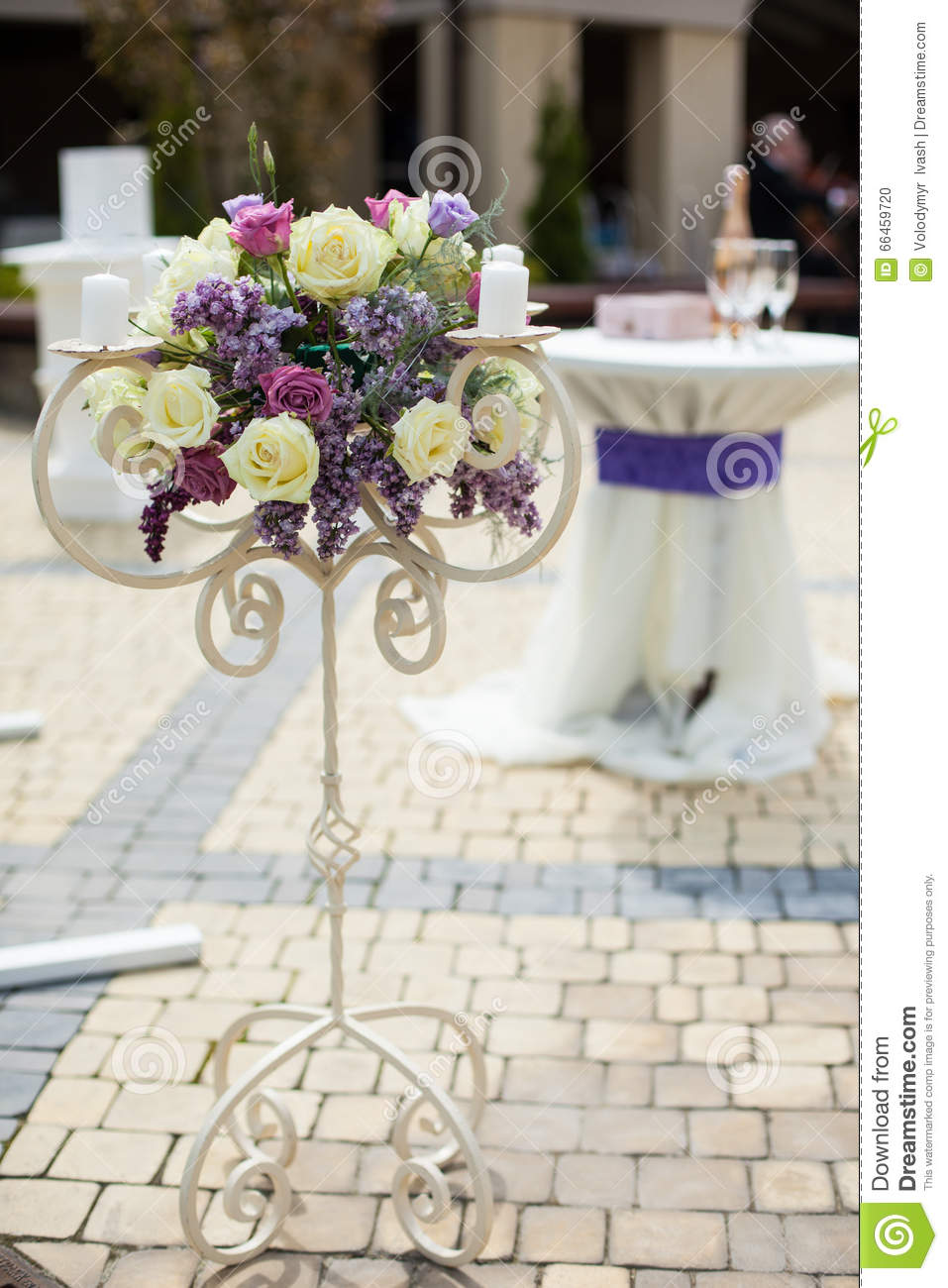 beautiful wedding flowers beautiful stylish flower stand at wedding aisle closeup 1614