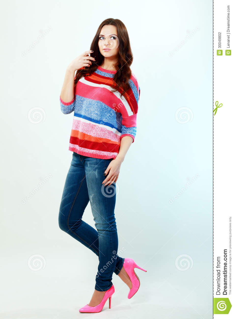 Girl In Fashion Stylish Jeans Stock Photography Image