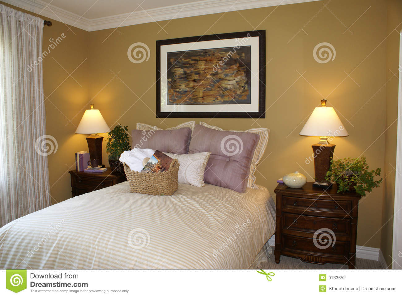 beautiful stylish guest bedroom stock photography image