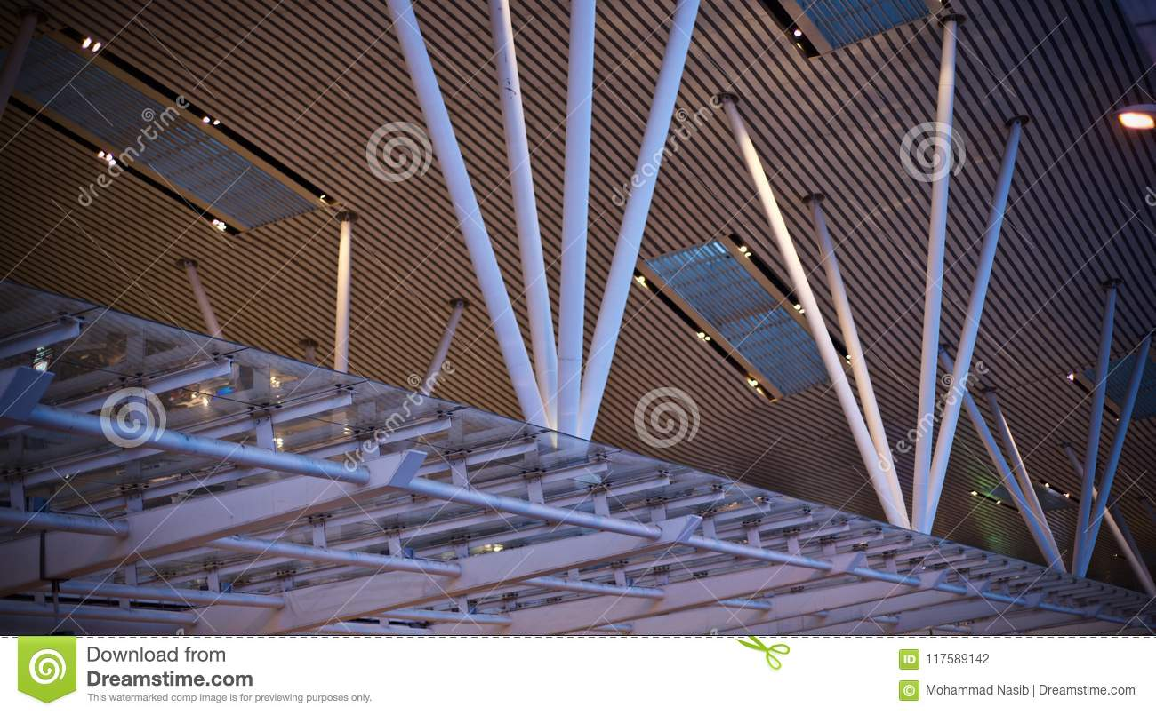 Download Stylish Metallic Pillars Of An Architectural Building Unique Photo Stock Photo - Image of object, metallic: 117589142