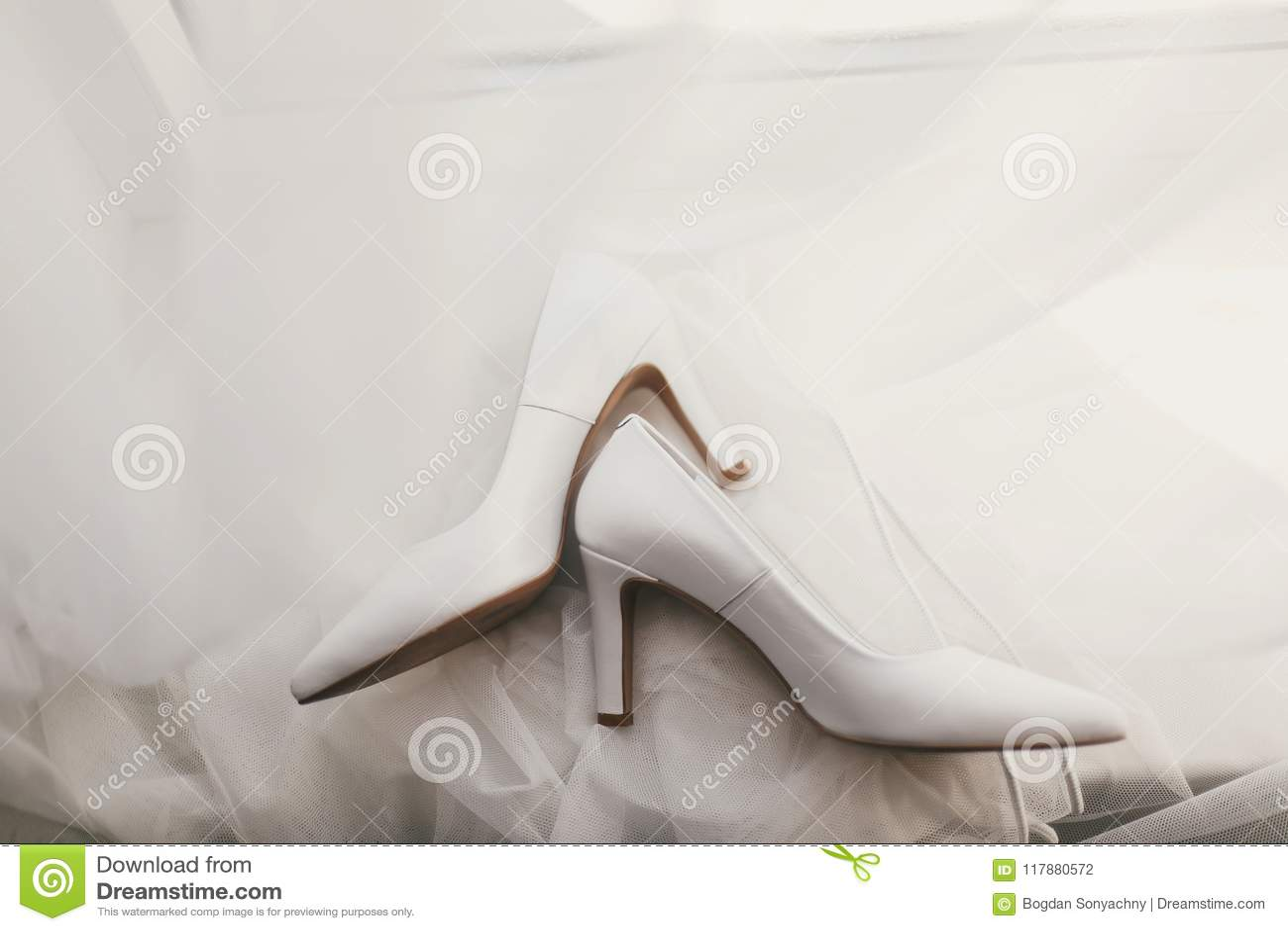 a65f53b58a27 Beautiful Stylish Shoes On Luxury Silk Wedding Dress