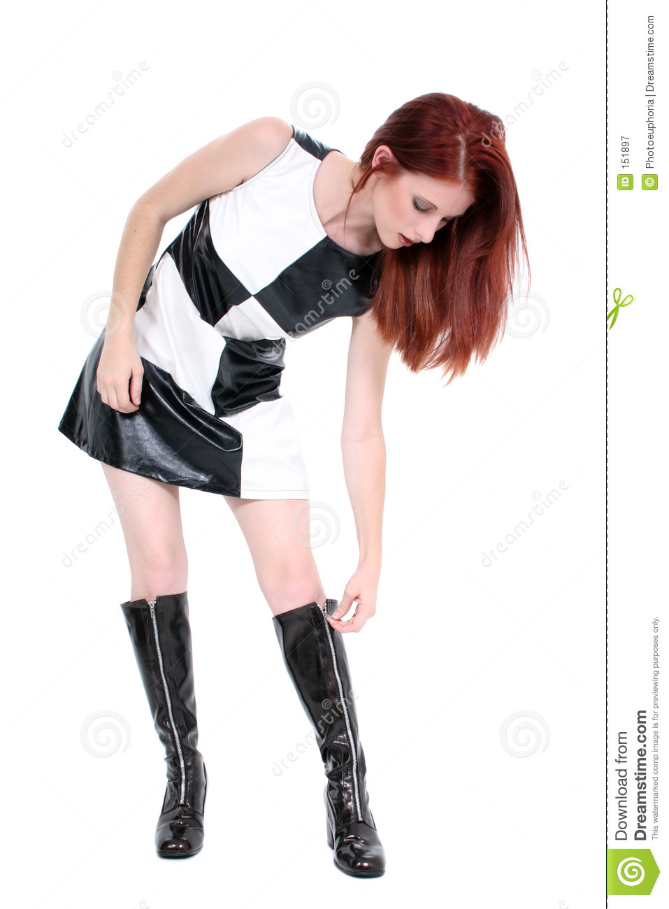 Beautiful Stylish Young Woman Zipping Up Her Go Go Boots