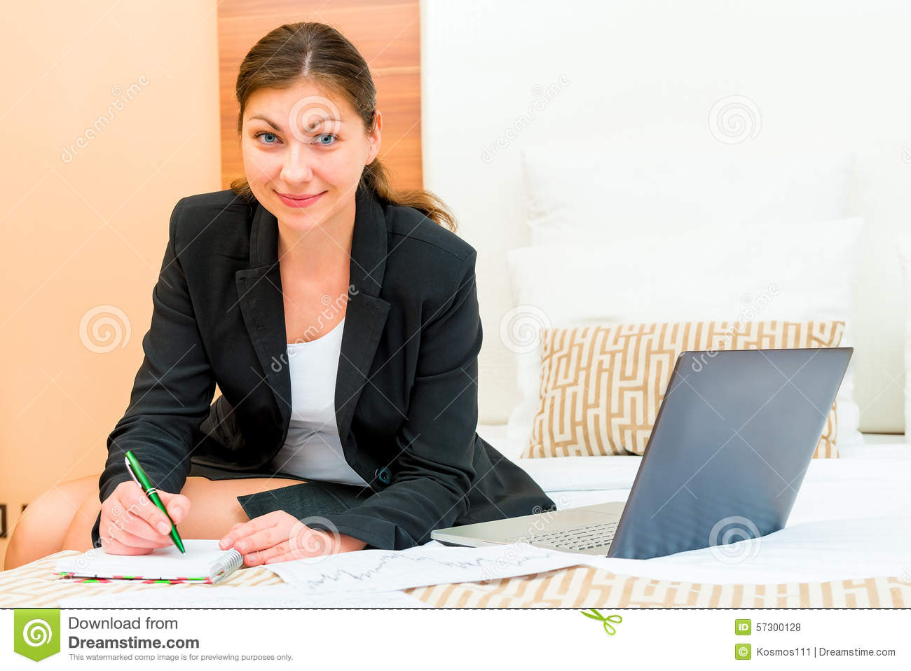 beautiful successful w working at the hotel stock photo beautiful successful w working at the hotel