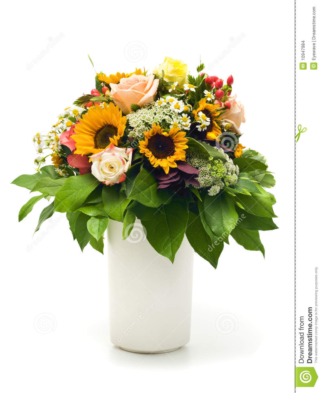 Beautiful Summer Bouquet In White Vase Stock Photo Image