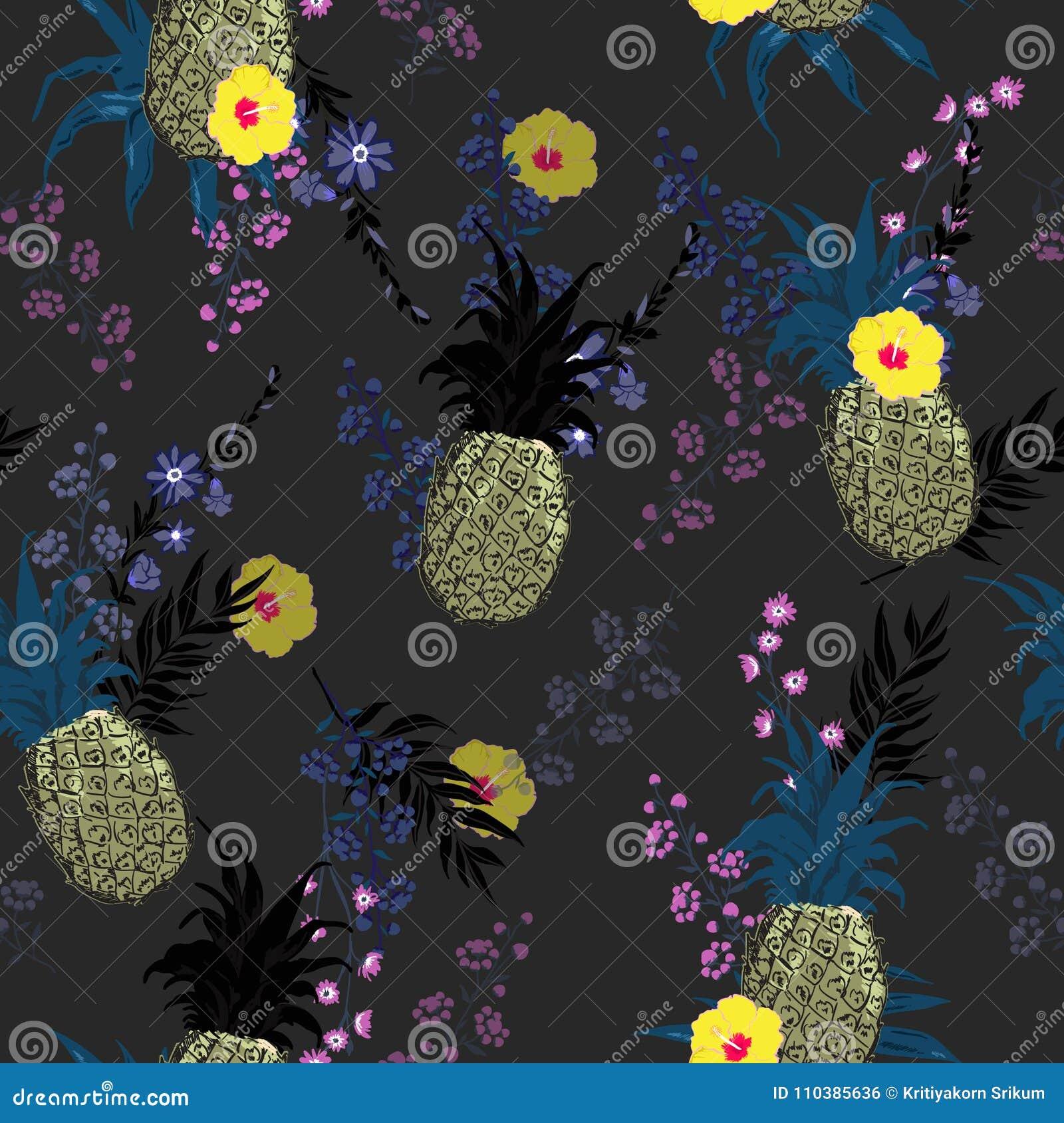 74cd3f4642d1e Beautiful Summer Dark Night Seamless Vector Floral Print Pattern ...
