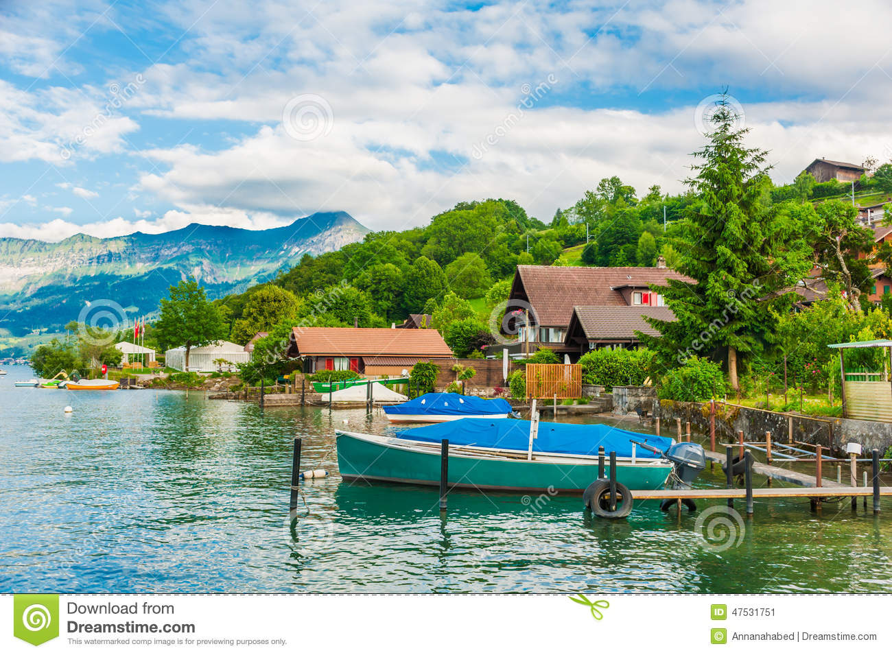 Beautiful summer landscape with lake mountains houses and a boat stock photo image 47531751 - Summer houses mountains ...