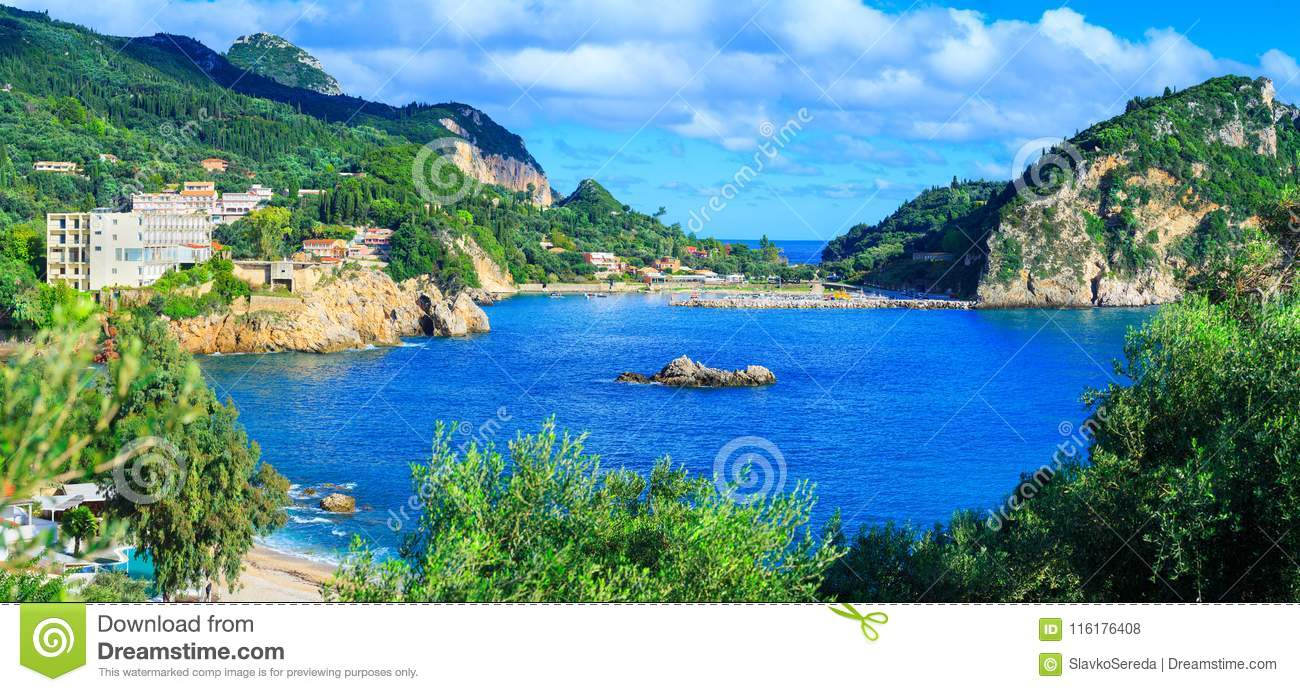 Beautiful summer panoramic seascape. View of the coastline into