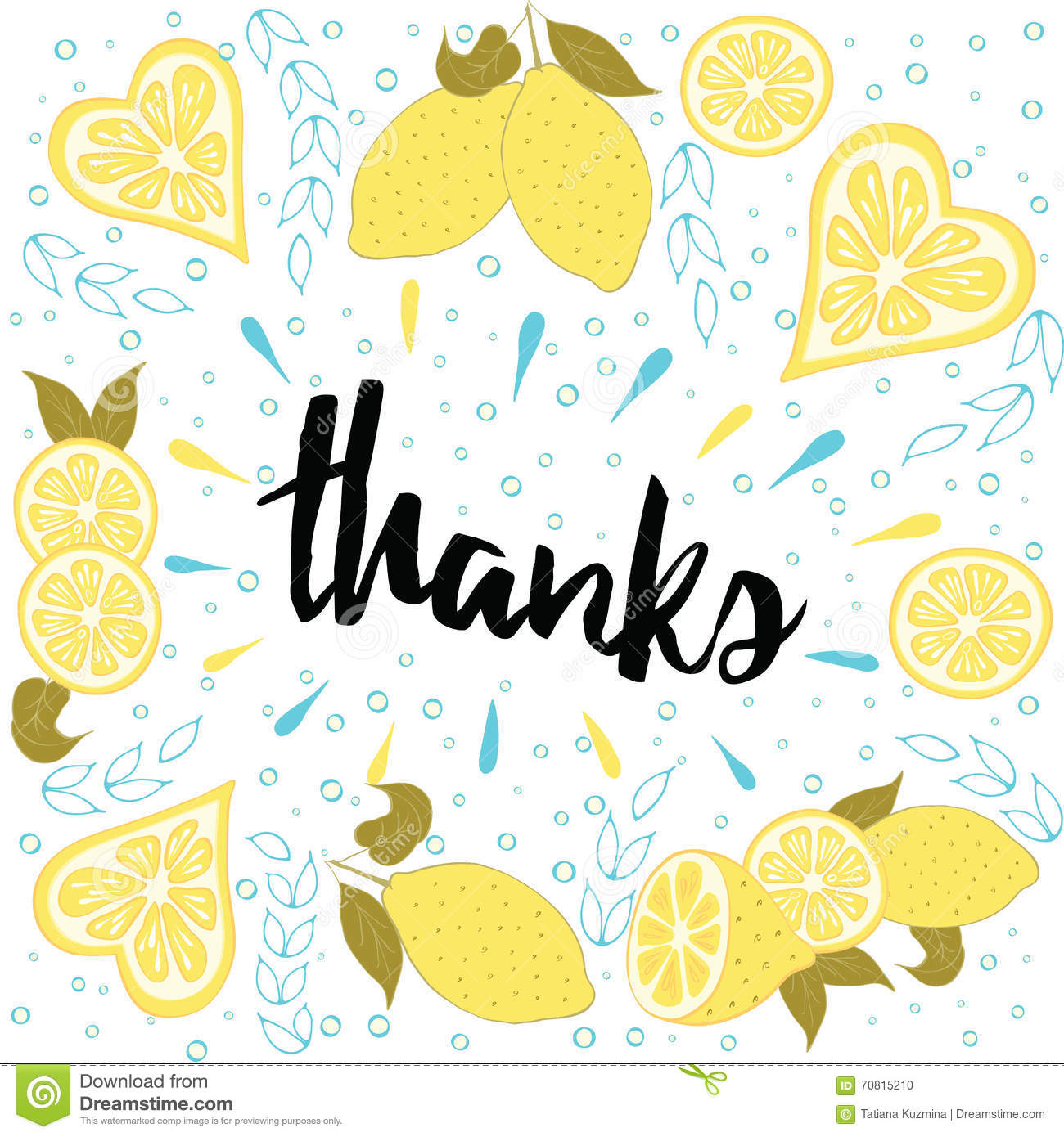 Beautiful summer posters with lemons and hand written text Thanks.