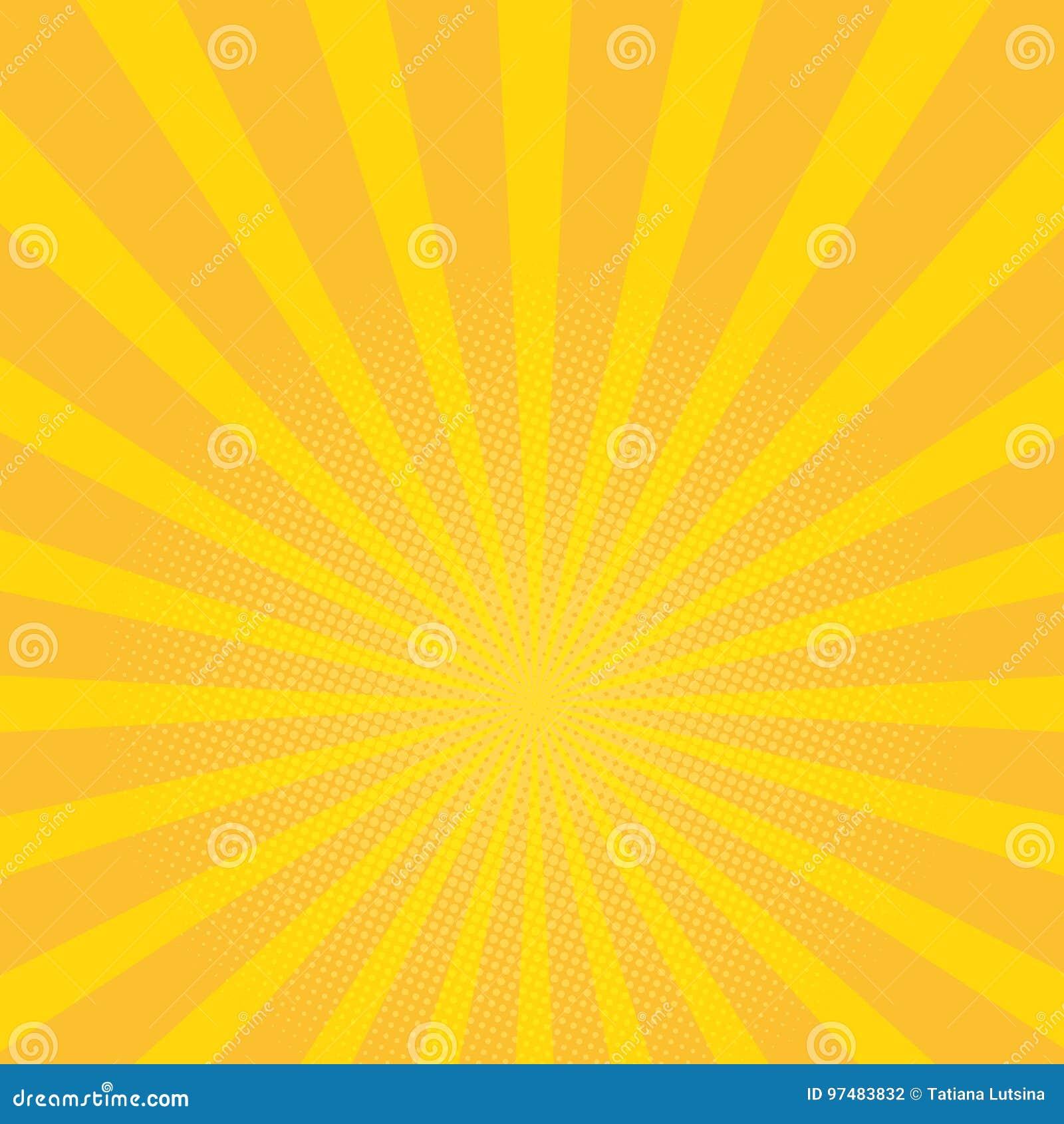 3ab903240a38e Beautiful summer sunburst background. yellow rays pop art background. retro  vector illustration.
